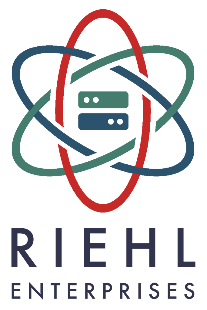 logo for Riehl Enterprises LLC, a web & software development & consulting business.  It's vector drawing of a bunch of rings like a model of the atom, with two server boxes in the middle.